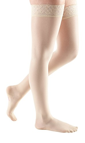 mediven Sheer & Soft, 15-20 mmHg, Thigh w/Lace Top-Band, Closed Toe