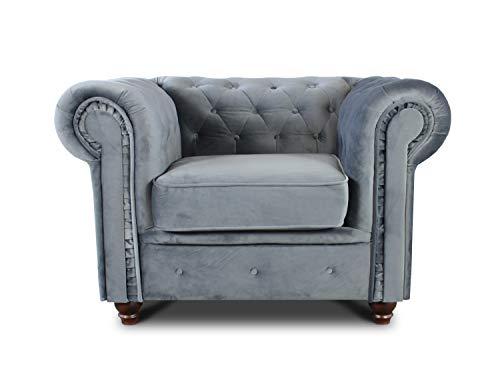 Sessel Chesterfield Asti - Couch, Couchgarnitur, Couchsessel, Loungesessel, Stühl, Holzfüße - Glamour Design, Velours (Grau (Velvet 10))
