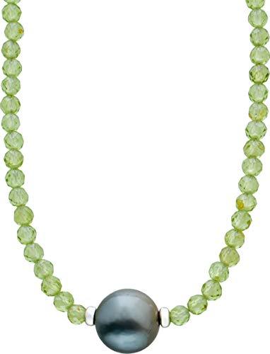 ch.abramowicz facettierter grüner peridot edelstein kette collier tahitiperle 10mm silber federringverschluss 925 38+7cm
