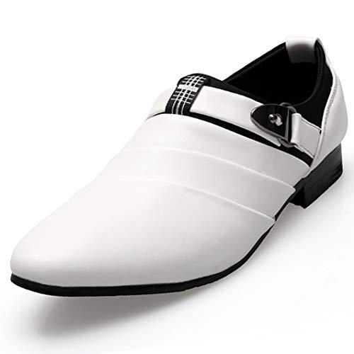Generic Mann Business Freizeitschuhe Spitzschuh Weiß Party Brautkleid Oxfords Buckle Slip on Leather Loafers