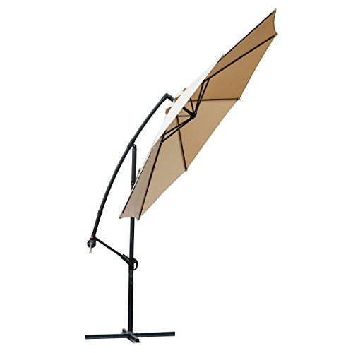 FARLAND Offset Umbrella 10 Ft Cantilever Patio Umbrella Outdoor Market Umbrellas with Cross Base...