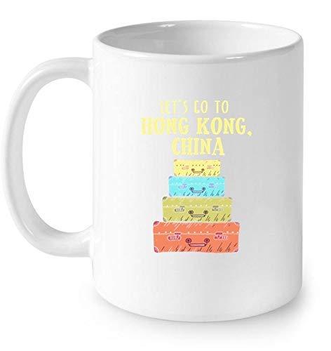 N\A Vamos a Hong Kong, China, Linda Maleta, Viaje, Camiseta, Regalo, Taza de café