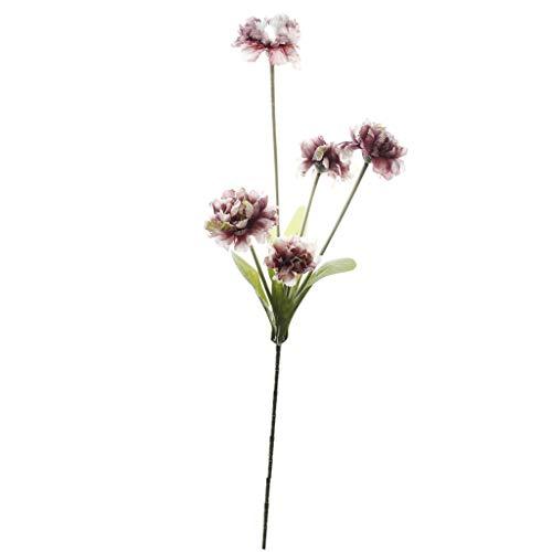 Hniunew Möbel Boutique KüNstlich Zuhause Blume 5 KöPfe Nelke GefäLschte Blume KüNstliche Blumen Blumenmuster Blatt Garten Dekoration DIY Lila Gelb BlüTenkopf Blume Seide GefäLschte Blumen