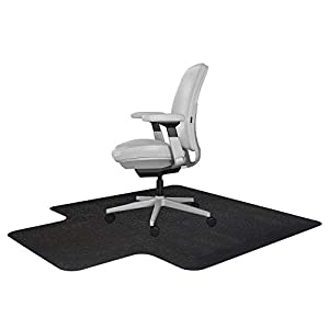 Resilia Office Desk Chair Mat with Lip – for Carpet (with Grippers) Black, 45 Inches x 53 Inches, Made in The USA
