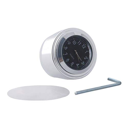 B Blesiya 1Pcs 7/8'Reloj de Manillar Impermeable para Motocicleta Reloj de Aluminio Luminoso - Negro