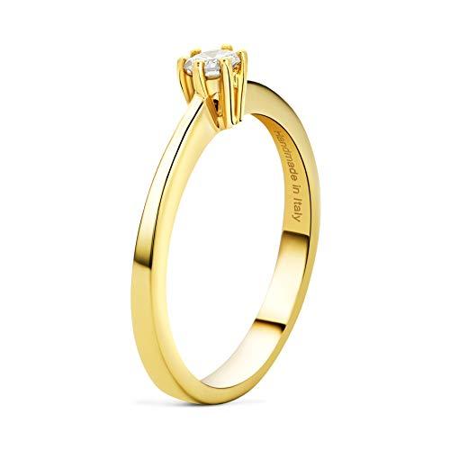 MIORE Mujer oro 14 quilates (585) oro amarillo 14 quilates (585) redonda blanco raro +/wesselton superior f Diamond