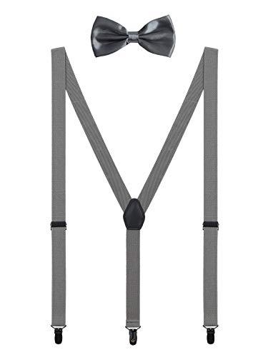 WANYING Herren Hosenträger Fliege Set 3 Schwarz Clips Y Form 2,5cm Hosenträger Einfach Schick Gentleman für Körpergröße 150-200cm - Dunkelgrau