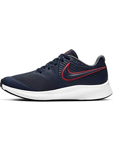 Nike Girls Star Runner 2 (GS) Running Shoe, MIDNIGHT NAVY/BRIGHT CRIMSON-SMOKE GREY, MIDNIGHT NAVY/BRIGHT CRIMSON-SMOKE GREY, 38