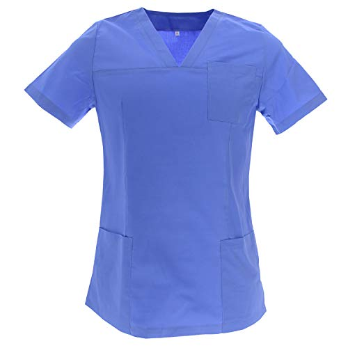 MISEMIYA - Casaca ELÁSTICA SEÑORA Uniforme Laboral Estética CLINICA Hospital Dentista Veterinaria Sanitarios HOSTELERÍA - Ref.G715 - XS, Azul Royal