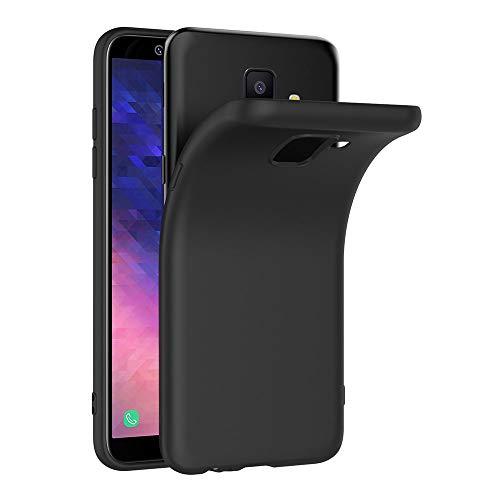 AICEK Cover per Samsung Galaxy A6 2018, Cover Samsung A6 2018 Nero Silicone Case Molle di TPU Sottile Custodia per Galaxy A6 2018 (5,6 Pollici)