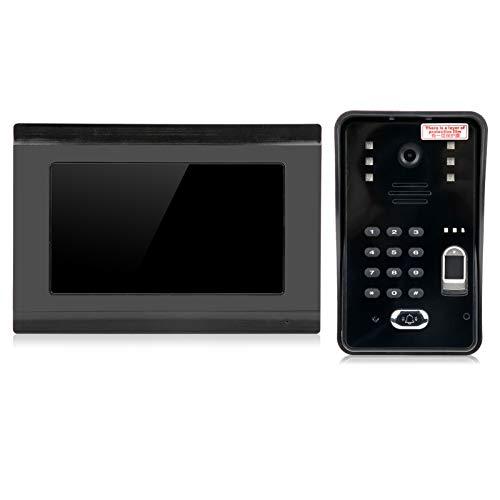 Video Door Phone,Security Video Doorphone,Wired Wifi Video Doorbell,7in,with Fingerprint Password,IC Card,Remote Unlock,Night Vision Intercom,100‑240V,for Home,Office Security(UK PLUG)