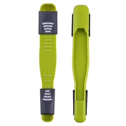 計量スプーンダブルエンド調整可能8ストール計量スプーン溝付きの指紋滑り止めスライダーを動かす正確な測定