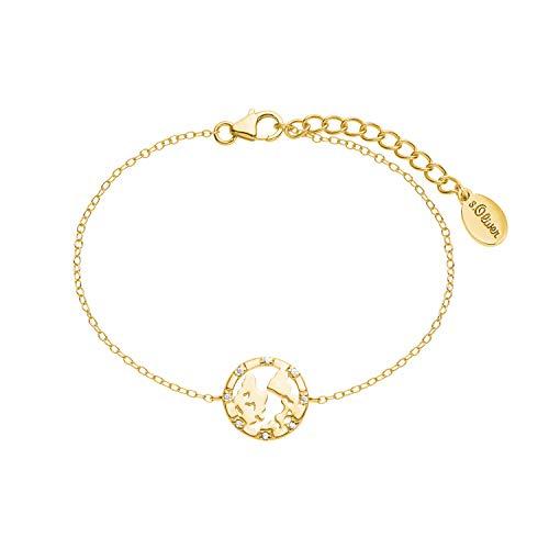 s.Oliver Armkette für Damen mit Weltkugel-Anhänger aus 925 Sterling Silber gelbvergoldet, längenverstellbar (16+3 cm)