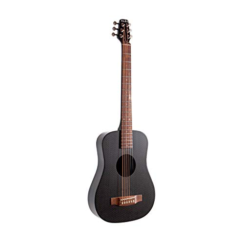 KLOS Black Carbon Fiber Travel Acoustic Electric Guitar Kit with Gig Bag, Strap, Capo, and more
