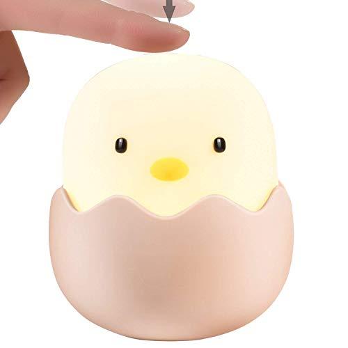 Favsonhome APUPPY Leuke Creatieve Ei Shell Nacht Licht, Oplaadbare Ei Shell kuiken vorm Top Control Lamp voor Meisje Lady Kid Baby Slaapkamer en Kwekerij