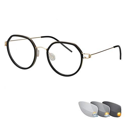 Photochrome Lesebrille Schraubenfreie Brille Retro Round Unisex-Sonnenbrille Asphärische Hartharzlinse Outdoor-Leser Pilotenbrille für UV- / Blendschutz