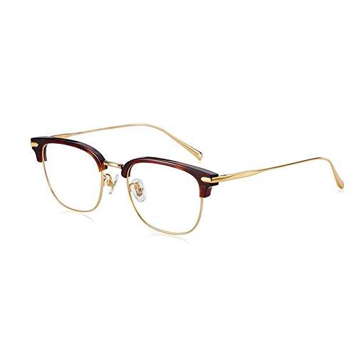 BYCSD Gafas de Sol para Hombre Pure Titanium Ultraligero Gafas De Media Montura Espejo Llano Unisexo Accesorios De Ropa para Hombres Y Mujeres (Color : Tortoiseshell/Gold)