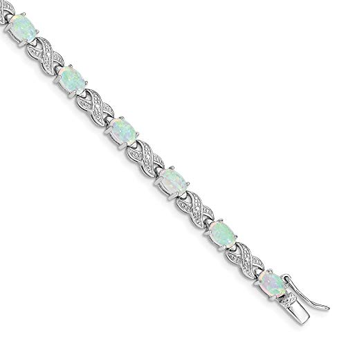 Ryan Jonathan Fine Jewelry Sterling Silver Lab Created Opal and Illusion Bracelet, 7'