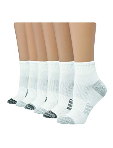 Hanes Women's Shoe Size: 5-9 Lightweight Breathable Ventilation Ankle Socks, 6-Pair Pack, White/Black/Grey Assorted