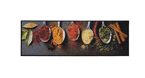 Bavaria Home Style Collection Küchenläufer/Küchenmatte/Dekoläufer für Küche und Bar/Teppich/Läufer/waschbare Küchenläufer/Küchendeko Modell Gewürze - Holz Optik - Größe ca. 50 x 150 cm