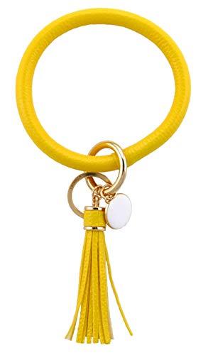THOMELA Schlüsselanhänger Armreif - Quast - Kunstleder - goldene Ringe & Schnellverschluss - Modetrend 2020 - Geschenkbox Set (Gelb)