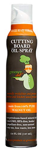 Greener Chef Food Grade Cutting Board Oil Spray and Butcher Block Oil Conditioner - All Natural Walnut Oil for Wood and Bamboo Chopping Boards - No Mess and Low Waste Spray