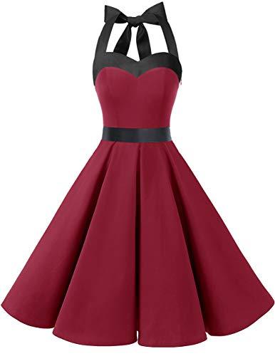 DRESSTELLS Damen Neckholder 1950er Vintage Retro Rockabilly Kleider Petticoat Faltenrock Cocktail Festliche Kleider Dark Red 2XL