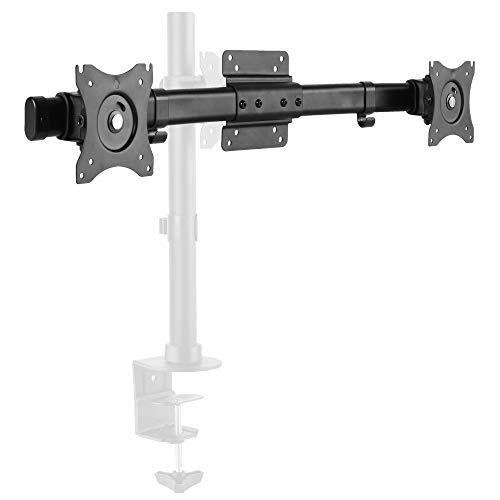 RICOO Dual-Adapter Monitor-Halterung 2 Monitore Schwenkbar Neigbar (CZ0012) Universal für 17-27 Zoll (bis 10-Kg je Bildschirm-Aufhängung, Max-VESA 100x100) Erweiterung Stand-Fuß Wand-Halterung