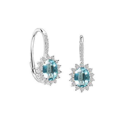 Bluespirit Orecchini da donna, Collezione Princess, in argento 925 rodiato, cristalli - P.25M401000900