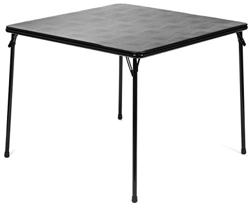 "XL Series Square Folding Card Table (38"") - Easy-to-Use Collapsible Legs for Portability and Storage - Vinyl Upholstery for Convenient Cleaning - Steel Construction, Wheelchair Accessible (Black)"