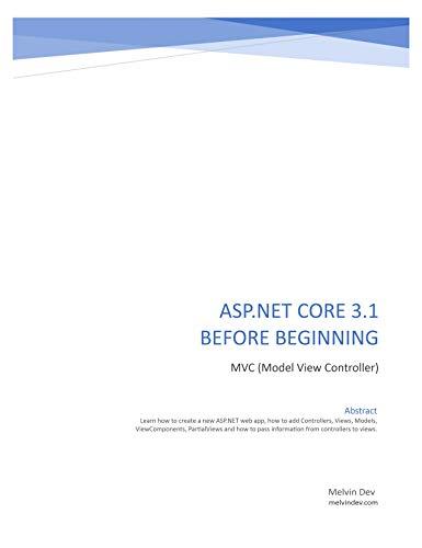 ASP.NET CORE 3.1 BEFORE BEGINNING (English Edition)