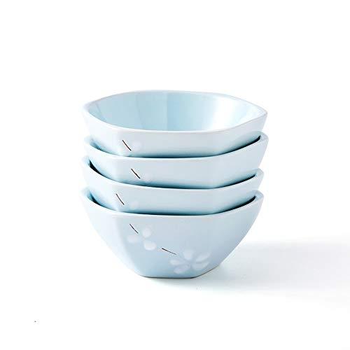 DS- Bol Vaisselle de Style Japonais et à Vent Bol à Riz Hexagonal de 5 Pouces 4 Set Combinaison ménage ménage Petit Bol à Soupe Bol en céramique personnalité créative - 2 Couleurs &&