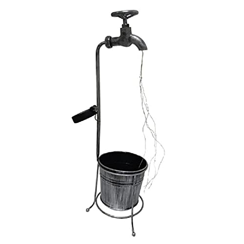 Grifo de agua con solar Estaca de jardín Luces LED Maceta de metal Lámpara de maceta Patio Césped Patio Decoración de paisaje Grifo de solar Luces de jardín