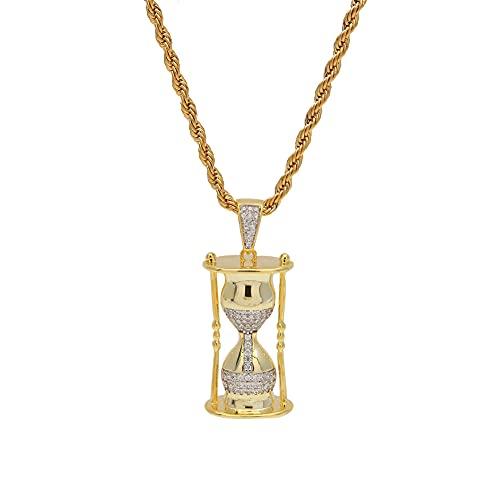 Xuefang Collar de reloj de arena de acero inoxidable galvanoplastia colgante de circonio Xams regalo para hombres y mujeres
