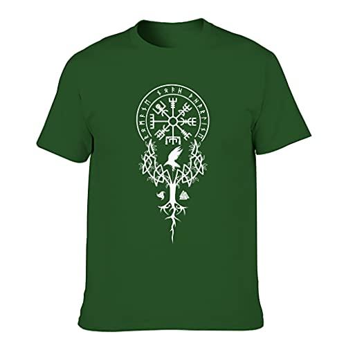 Camiseta de algodón para hombre, diseño vikingo, divertida, elegante y duradera, con impresión Dark Green001. XXXXL