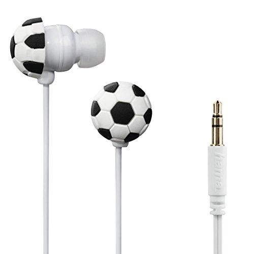 Hama stereo oordopjes in-ear hoofdtelefoon Soccer (volumebegrenzing 85 dB, in-ear hoofdtelefoon voor kinderen vanaf 4 jaar, 1,2 m kabel, geschikt voor geluidsbox, jongens hoofdtelefoon) voetbaldesign