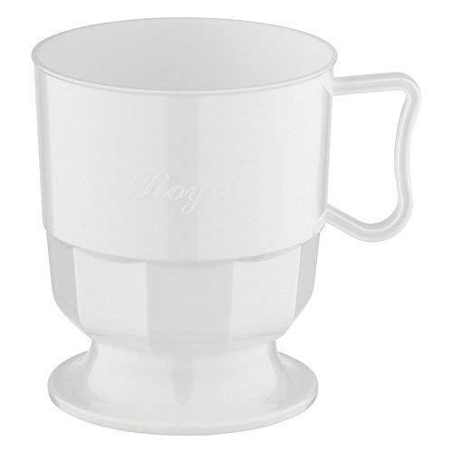 Silverkitchen 48x Einweg Henkeltasse weiß 200ml   Plastik Tasse mit Aufschrift Royal   Robustes Einweggeschirr hochwertige Qualität   für Kaffee Tee Glühwein Weihnachtsmarkt Catering