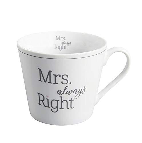 Krasilnikoff - Becher, Tasse mit Henkel - Happy Cup - Mrs always Right - ca. 400 ml - Höhe: 9 cm - weiß/grau