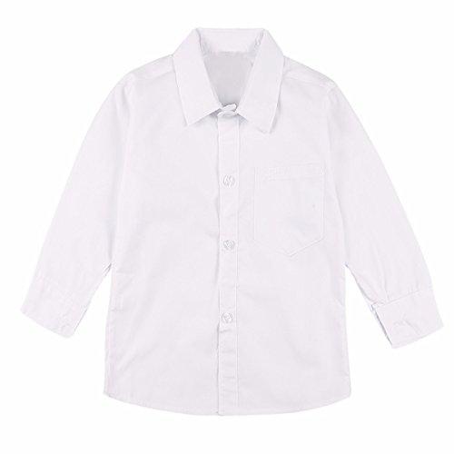 iiniim Chemise Enfant Garçons d'honneur Mariage Blanc Manches Longues Casual Tunique Boutons Couleur Unie Coton Shirt Slim Déguisement École 2-15 Ans Blanc 12-13 Ans