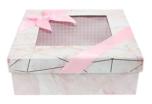 Emartbuy Caja de Regalo de Presentación Rígida Cuadrada, 23.5 cm x 23.5 cm x 9 cm, Efecto de Mármol Rosa Con Líneas Doradas de Origami, Interior a Cuadros Rosa, Tapa Transparente y Cinta de Satén