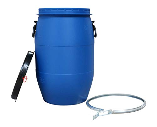 asup Kunststoff-Fass 60 Liter - UN-Zulassung - mit breiter Einfüllöffnung, Deckel und Spannring