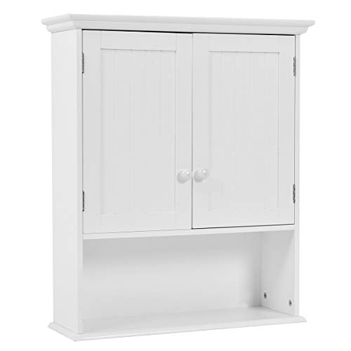 GOPLUS Wandschrank Regal, Hängeschrank mit Verstellbaren Einlegeboden, Küchenschrank Hängend, Badezimmerschrank mit Tür, Hängeschrank Weiß, Allzweckschrank 60 x 20 x 70,5 cm