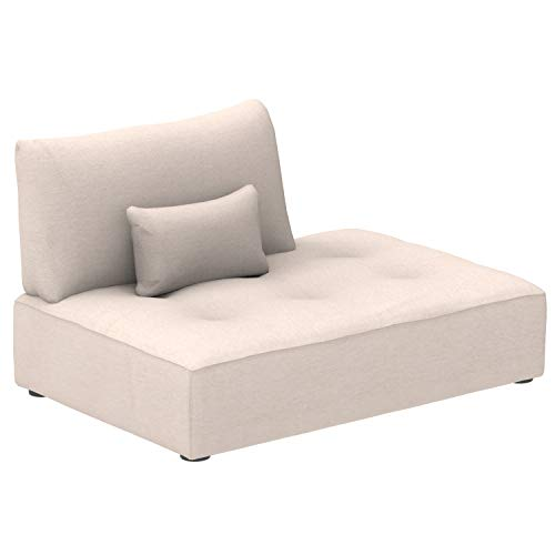 Marca Amazon -Alkove Elvas - Módulo chaise longue con almacenaje y cojín adicional para sofá modular, 145 x 100cm, beige