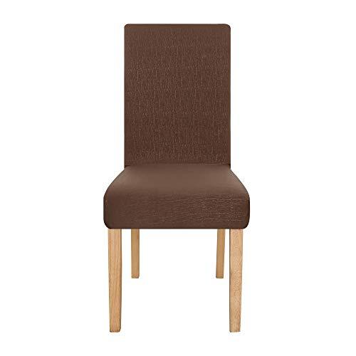 Amazon Brand - Umi Funda para Silla Decorativa Suave de Salon con Patrón de Corteza 2 Piezas Chocolate