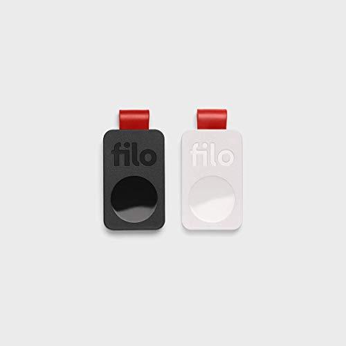 FiloTag 2021 - Localizador de Objetos. Tracker Bluetooth Made in Italy. Tamaños: 25 x 41 x 5 mm. (Pack de 2, Blanco y Negro)