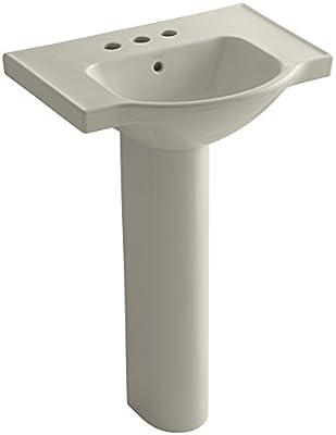 KOHLER K-5266-4-G9 Veer Pedestal Bathroom Sink with 4-Inch Centerset Faucet Holes, 24-Inch, Sandbar