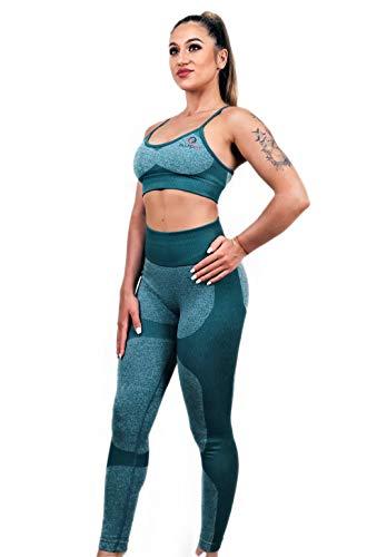 FluidFit - Conjunto de sujetador deportivo para gimnasio, yoga, para mujer Verde verde M