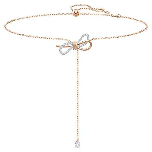 Swarovski Lifelong Bow Y-Halskette, Damenhalskette im Metallmix mit Schleifenmotiv und Funkelnden Swarovski Kristallen