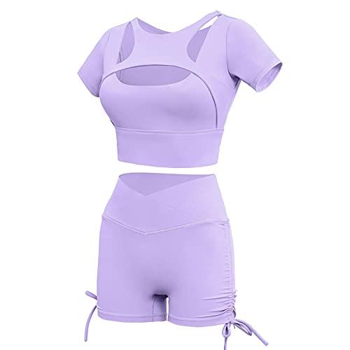 Traje de dos piezas para mujer, sexy, bodycon de color sólido, manga corta, recortado + pantalones cortos de levantamiento de glúteos, trajes deportivos de yoga, morado claro, S