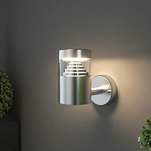 NBHANYUAN Lighting® Aussenleuchte/Außenlampe LED Wand Lampe Außen für Balkon, Garten Silber Edelstahl 3000K Warmweiß Licht 220-240V 500LM 4.5W IP44 (ohne PIR Sensor)